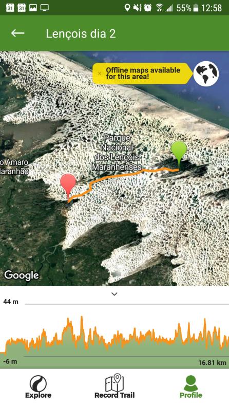 Trajeto segundo dia de trilha Lençóis Maranhenses